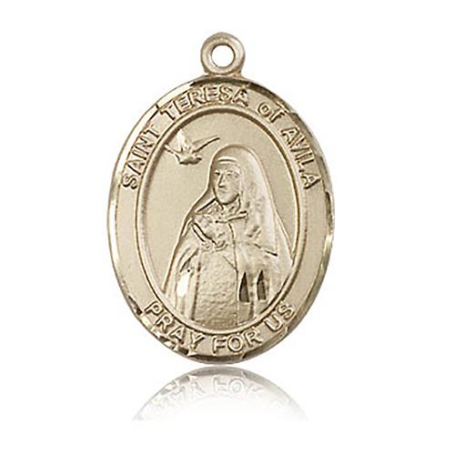 14kt Yellow Gold 1in St Teresa of Avila Medal