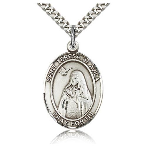Sterling Silver 1in St Teresa of Avila Medal & 24in Chain