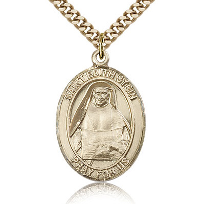 Gold Filled 1in St Edith Medal & 24in Chain