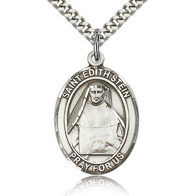 Sterling Silver 1in St Edith Medal & 24in Chain