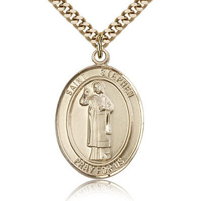Gold Filled 1in St Stephen Medal & 24in Chain