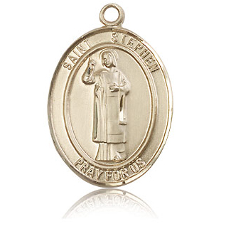 14kt Yellow Gold 1in St Stephen Medal