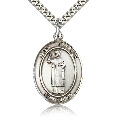 Sterling Silver 1in St Stephen Medal & 24in Chain