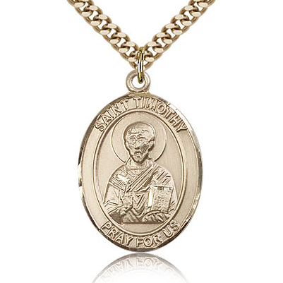 Gold Filled 1in St Timothy Medal & 24in Chain