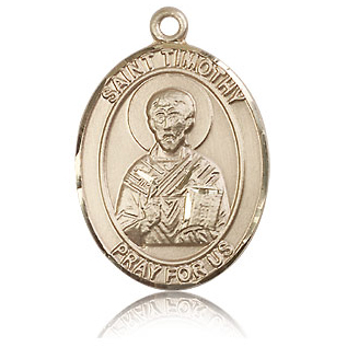 14kt Yellow Gold 1in St Timothy Medal