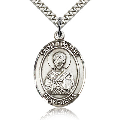 Sterling Silver 1in St Timothy Medal & 24in Chain