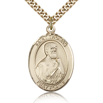 Gold Filled 1in St Thomas the Apostle Medal & 24in Chain