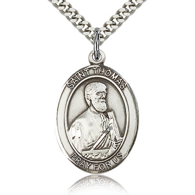 Sterling Silver 1in St Thomas the Apostle Medal & 24in Chain