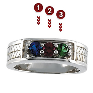 Woven Band Sterling Silver Mother's Ring