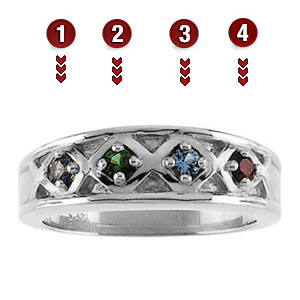 Family Crown Sterling Silver Mother's Ring
