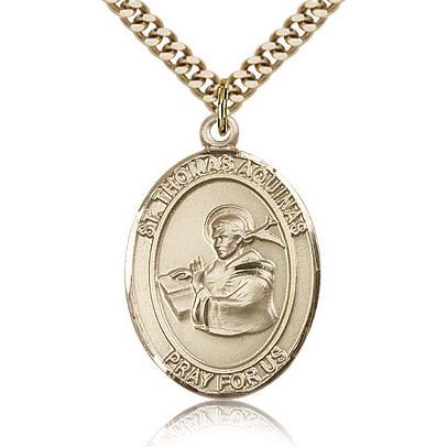 Gold Filled 1in St Thomas Aquinas Medal & 24in Chain
