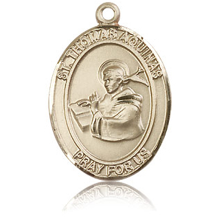 14kt Yellow Gold 1in St Thomas Aquinas Medal