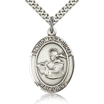 Sterling Silver 1in St Thomas Aquinas Medal & 24in Chain