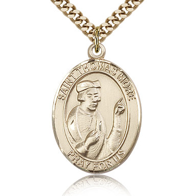 Gold Filled 1in St Thomas More Medal & 24in Chain