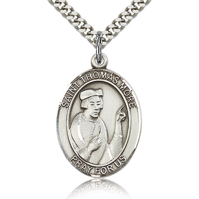 Sterling Silver 1in St Thomas More Medal & 24in Chain