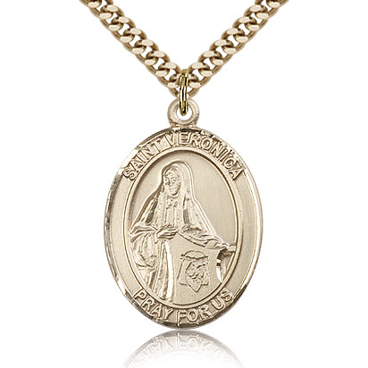 Gold Filled 1in St Veronica Medal & 24in Chain