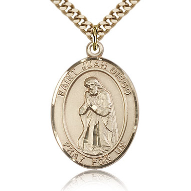 Gold Filled 1in St Juan Diego Medal & 24in Chain