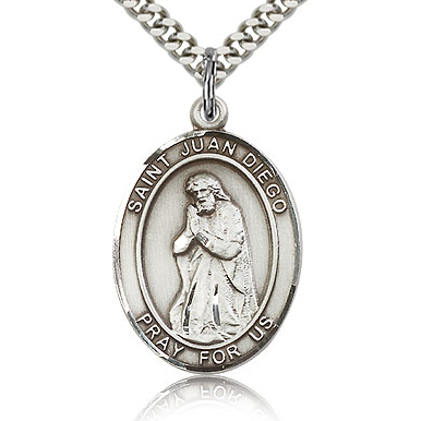 Sterling Silver 1in St Juan Diego Medal & 24in Chain