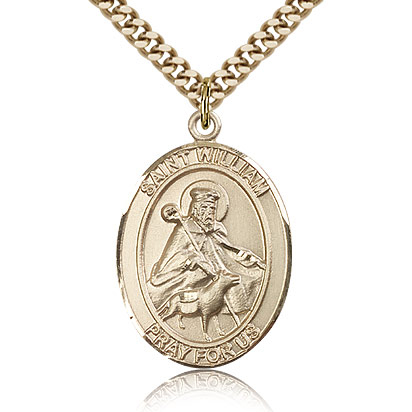 Gold Filled 1in St William Medal & 24in Chain