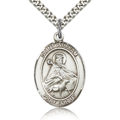 Sterling Silver 1in St William Medal & 24in Chain