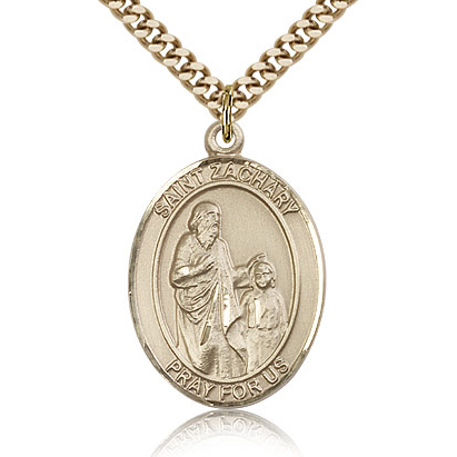 Gold Filled 1in St Zachary Medal & 24in Chain