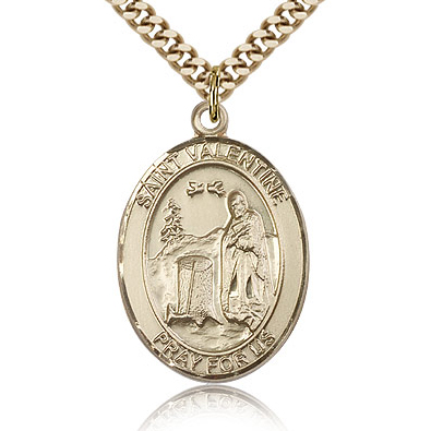 Gold Filled 1in St Valentine Medal & 24in Chain