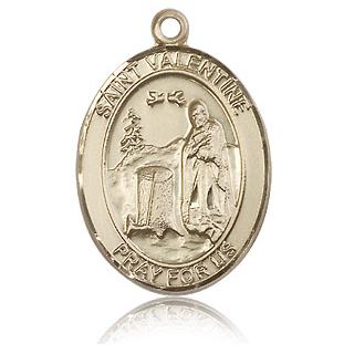 14kt Yellow Gold 1in St Valentine Medal