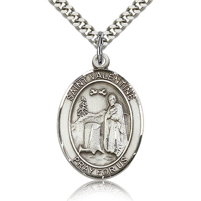 Sterling Silver 1in St Valentine Medal & 24in Chain