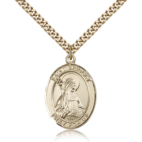 Gold Filled 1in St Bridget Medal & 24in Chain