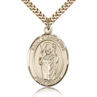 Gold Filled 1in St Stanislaus Medal & 24in Chain