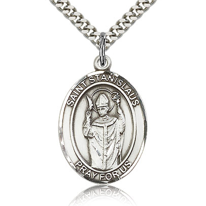 Sterling Silver 1in St Stanislaus Medal & 24in Chain
