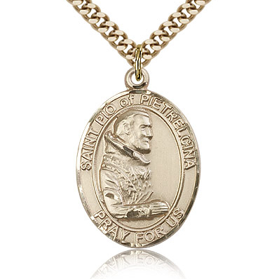 Gold Filled 1in St Pio Medal & 24in Chain