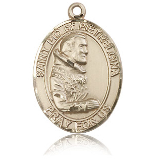 14kt Yellow Gold 1in St Pio Medal