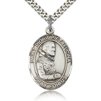 Sterling Silver 1in St Pio Medal & 24in Chain