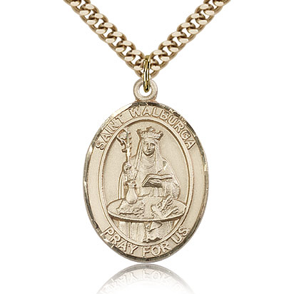 Gold Filled 1in St Walburga Medal & 24in Chain