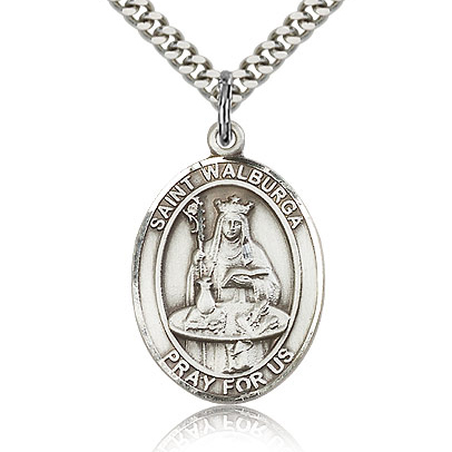 Sterling Silver 1in St Walburga Medal & 24in Chain