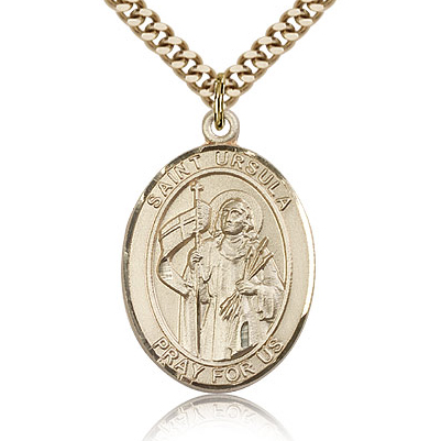 Gold Filled 1in St Ursula Medal & 24in Chain