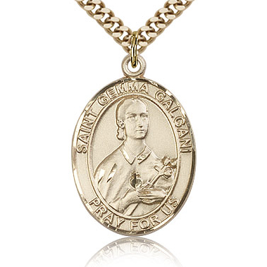 Gold Filled 1in St Gemma Galgani Medal & 24in Chain