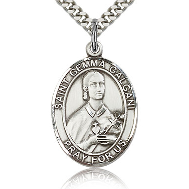 Sterling Silver 1in St Gemma Galgani Medal & 24in Chain