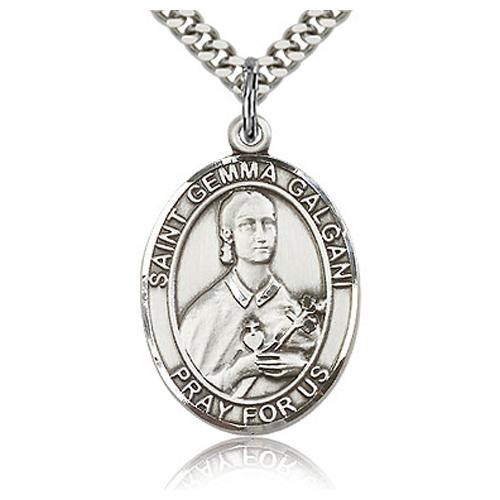 Sterling Silver 1in St Gemma Galgani Medal & 24in Chain