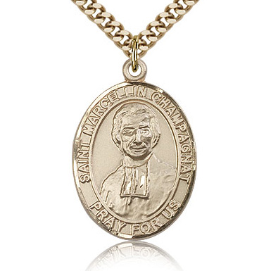 Gold Filled 1in St Marcellin Champagnat Medal & 24in Chain