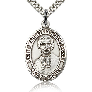 Sterling Silver 1in St Marcellin Champagnat Medal & 24in Chain