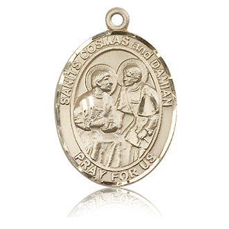 14kt Yellow Gold 1in St Cosmas and Damian Medal