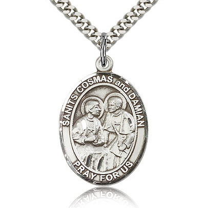 Sterling Silver 1in St Cosmas and Damian Medal & 24in Chain