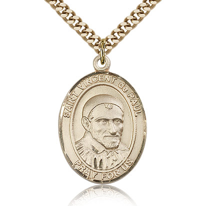 Gold Filled 1in St Vincent de Paul Medal & 24in Chain