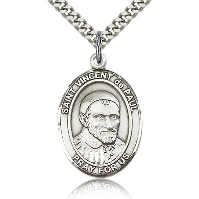 Sterling Silver 1in St Vincent de Paul Medal & 24in Chain