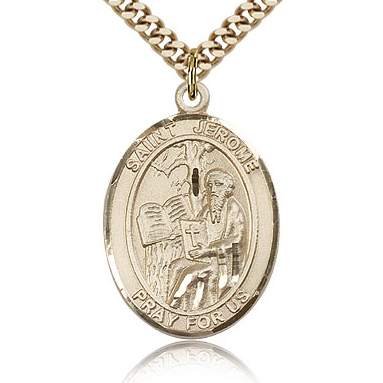 Gold Filled 1in St Jerome Medal & 24in Chain