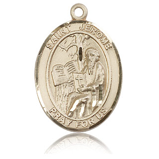 14kt Yellow Gold 1in St Jerome Medal