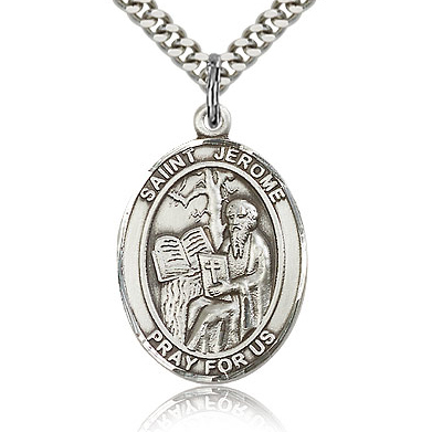Sterling Silver 1in St Jerome Medal & 24in Chain