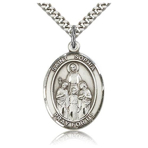 Sterling Silver 1in St Sophia Medal & 24in Chain